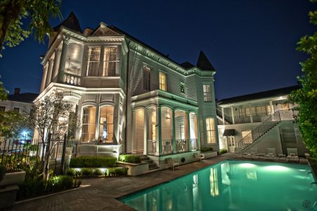 Melrose Mansion and Pool at Night